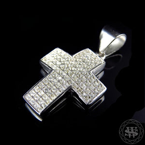 World Shine Pendant Premium 925 Sterling Silver White Gold Finish Simulated Diamond Short Pave Set Cross Pendant