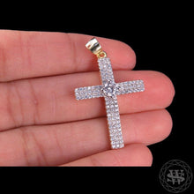 World Shine Pendant Premium 925 Sterling Silver Yellow Gold Finish Pave Solitaire Lab Diamond Cross Pendant 1.35""
