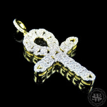 World Shine Pendant Premium 925 Sterling Silver Yellow Gold Finish Simulated Diamond Cuban Egyptian Ankh Cross Pendant 1.75""