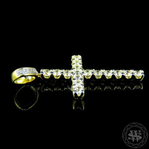 World Shine Pendant Premium 925 Sterling Silver Yellow Gold Solitaire Simulated Diamond 1 Row Cross Pendant 2""