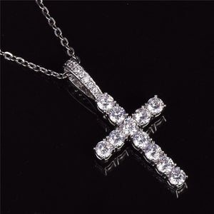 World Shine Pendant Silver / Cuban Chain / 20 inch Iced Out Cross Pendant Silver