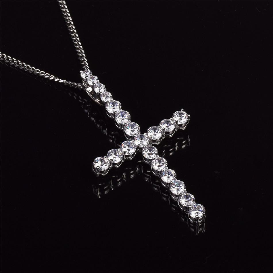 World Shine Pendant Silver / Rope Chain / 20 inch Iced Out XL Cross Pendant Silver