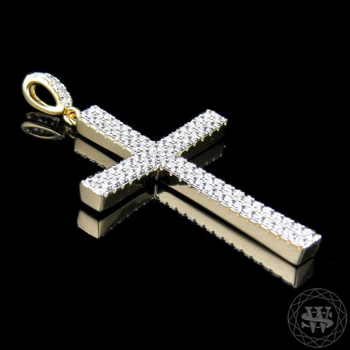 World Shine Pendant Yellow Gold Premium 925 Sterling Silver Yellow Gold Simulated Diamond World Cross Pendant 1.75