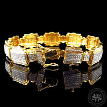 World Shine Premium 925 Sterling Silver With Real Diamond 10k Yellow Gold Finish Diamond Bracelet 1.25Ct 14mm