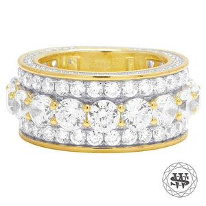 World Shine Ring 10 Premium 925 Sterling Silver Yellow Gold Finish Simulated Diamond Band Ring