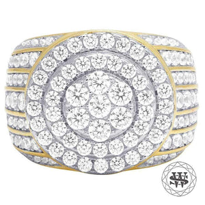 World Shine Ring 10 Premium 925 Sterling Silver Yellow Gold Finish Simulated Diamond Ring