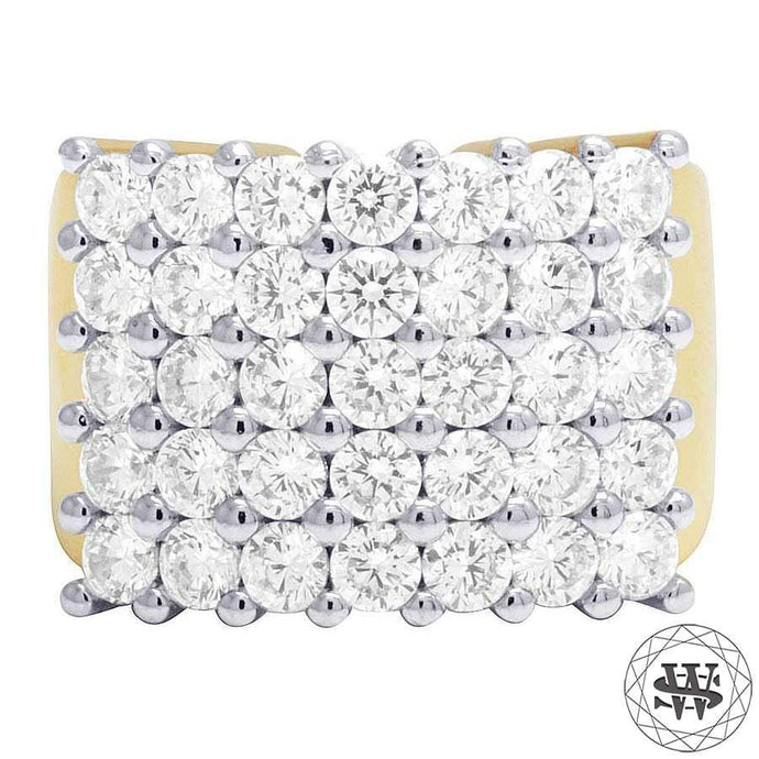 World Shine Ring 10 Premium 925 Sterling Siver Yellow Gold Finish Simulated Diamond Five Rows Ring