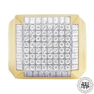 World Shine Ring 10 Premium Yellow Gold Finish Simulated Diamond Square Ring