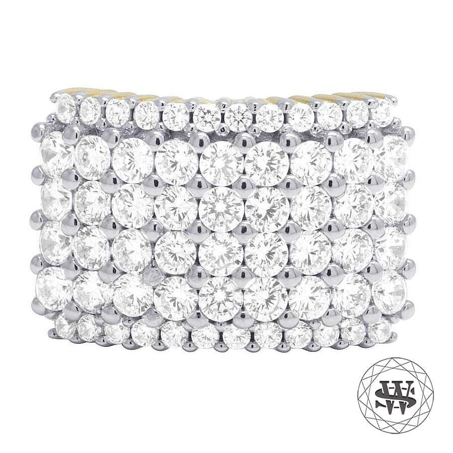World Shine Ring 11 Premium 925 Sterling Silver Yellow Gold Finish Simulated Diamond Four Rows Ring