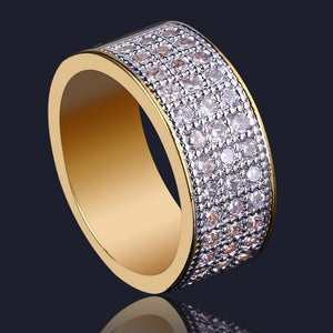 World Shine Ring 7 / Gold Iced Out 3 Row Charm Gold / Diamond Ring