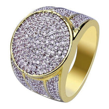 World Shine Ring 7 / Gold Iced Out XL Round Ring Gold / Diamond