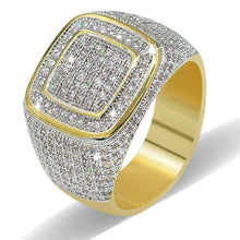 World Shine Ring 8 / Gold Iced Out Micro Pave square Rings Gold / Diamond