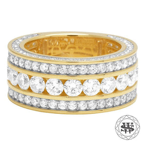 World Shine Ring 8 Premium 925 Sterling Silver Gold Yellow Finish Simulated Diamond Three Row Ring