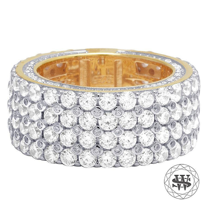 World Shine Ring 8 Premium 925 Sterling Silver Yellow Gold Finish Simulated Diamond 4 Row Ring
