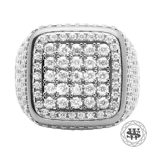 World Shine Ring 9 Premium 925 Sterling Silver White Gold Lab Diamond 3D Square Ring