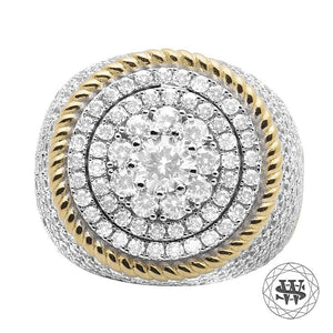 World Shine Ring 9 Premium 925 Sterling Silver Yellow Gold Diamond Ring