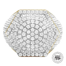 World Shine Ring 9 Premium 925 Sterling Silver Yellow Gold Finish Simulated Diamond Hexagon Ring
