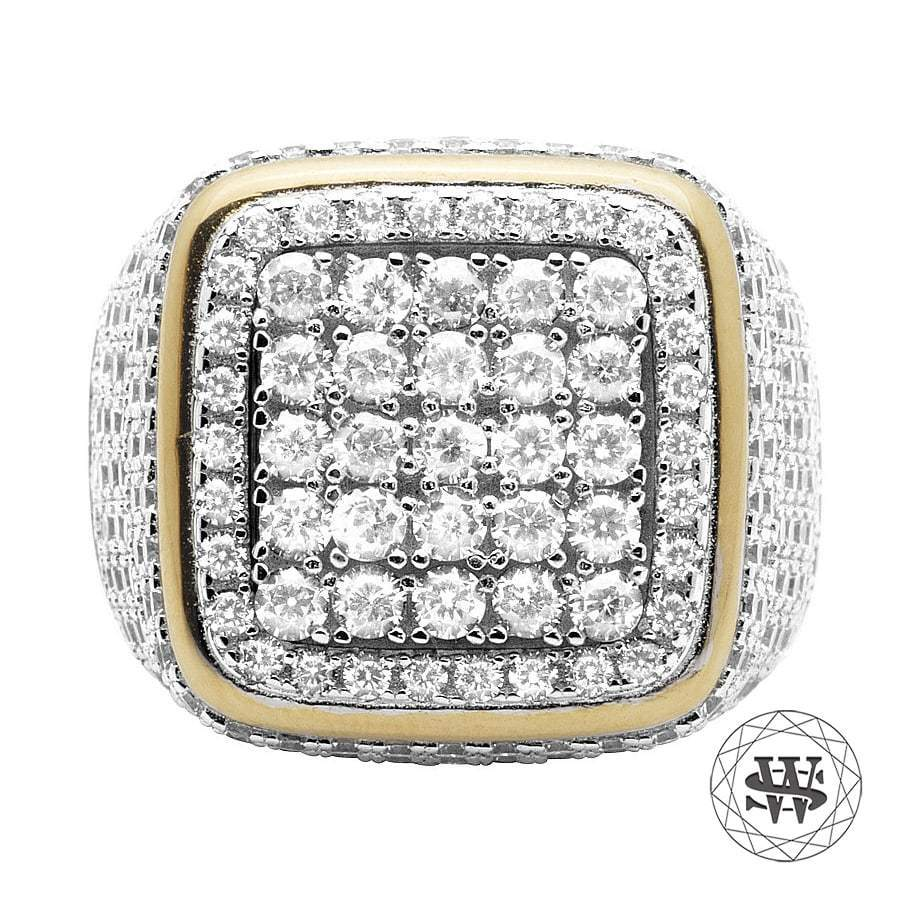 World Shine Ring 9 Premium 925 Sterling Silver Yellow Gold Lab Diamond 3D Square Ring