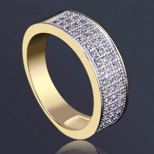 World Shine Ring Gold / 10 Iced Out Small Round Ring Gold 7mm