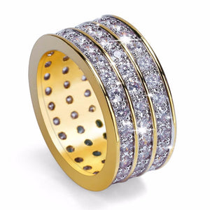 World Shine Ring Iced Out 3 Row Gold / Diamond Ring