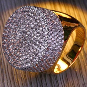World Shine Ring Iced Out Big Round Gold Ring