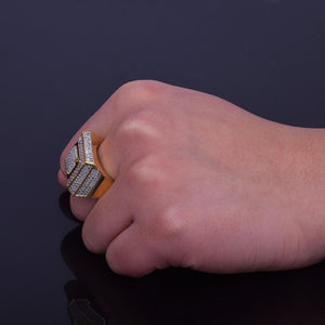 World Shine Ring Iced Out Classic Ring Gold / Diamond