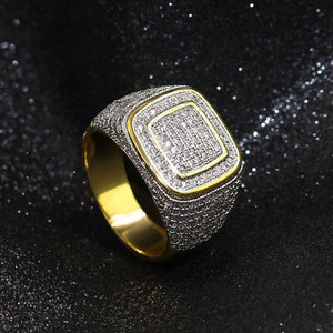 World Shine Ring Iced Out Micro Pave square Rings Gold / Diamond