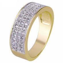 World Shine Ring Iced Out Small Round Ring Gold 7mm