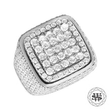 World Shine Ring Premium 925 Sterling Silver White Gold Lab Diamond 3D Square Ring