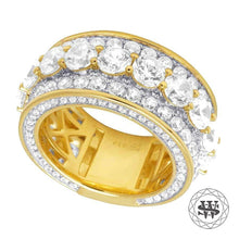 World Shine Ring Premium 925 Sterling Silver Yellow Gold Finish Simulated Diamond Band Ring