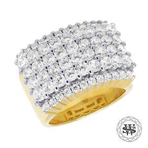 World Shine Ring Premium 925 Sterling Silver Yellow Gold Finish Simulated Diamond Four Rows Ring