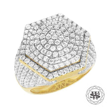 World Shine Ring Premium 925 Sterling Silver Yellow Gold Finish Simulated Diamond Hexagon Ring