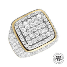 World Shine Ring Premium 925 Sterling Silver Yellow Gold Lab Diamond 3D Square Ring