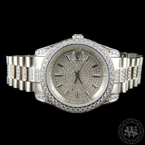 World Shine Watch 18K White Gold Premium 18K White Gold Finish 1 Row Band Simulated Iced Diamond Presidential Watch 41mm