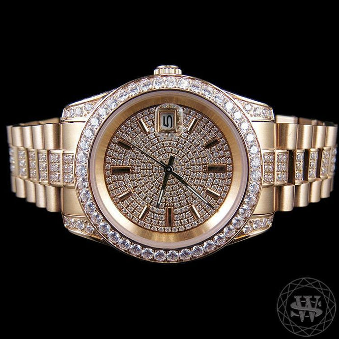World Shine Watch Premium 18K Rose Gold Finish 1 Row Band Simulated Iced Diamond Presidential Watch 41mm