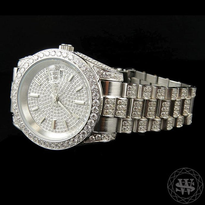 World Shine Watch Premium 18K White Gold Steel Simulated Iced Diamond Presidential Watch 41mm