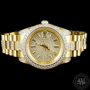 World Shine Watch Premium 18K Yellow Gold Finish 1 Row Band Simulated Iced Diamond Presidential Watch 41mm
