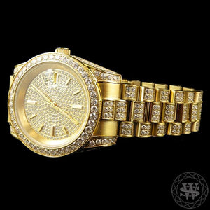 World Shine Watch Premium 18K Yellow Gold Steel Simulated Iced Diamond Presidential Watch 41mm