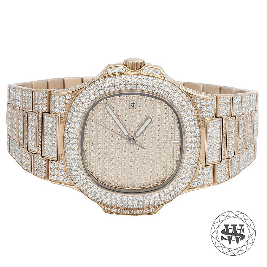 World Shine Watch Premium Automatic Rose Gold Simulated Diamond Watch 40mm