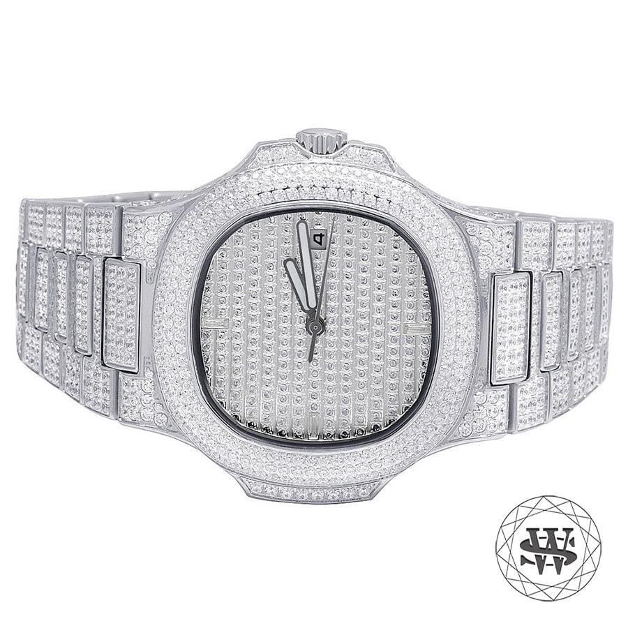 World Shine Watch Premium Automatic White Gold Simulated Diamond Watch 40mm