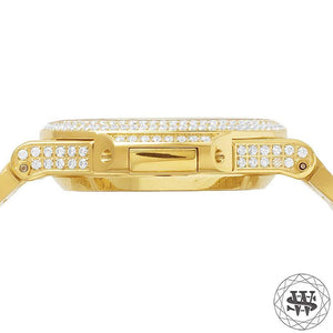 World Shine Watch Premium Automatic Yellow Gold Simulated Diamond Watch 40mm