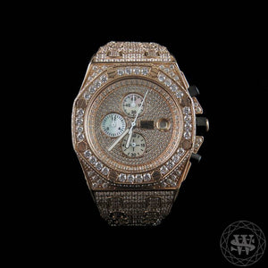 World Shine Watch Premium Diamond Rose Gold Chronograph Watch 43mm