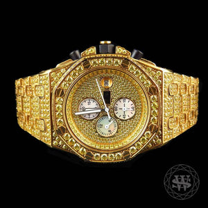 World Shine Watch Premium Diamond Yellow Canary Gold Chronograph Watch 43mm