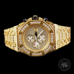 World Shine Watch Premium Diamond Yellow Gold Chronograph Watch 43mm