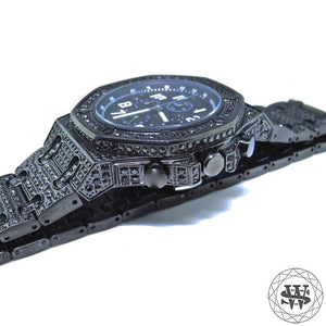 World Shine Watch Premium Master Black Finish Simulated Diamond Watch 46mm