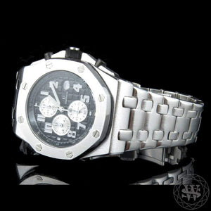 World Shine Watch Premium Solid White Gold Finish Black Dial Chronograph Watch 43mm