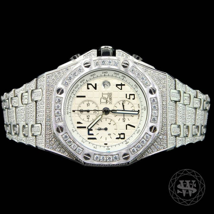 World Shine Watch Premium White Gold Finish Simulated Diamond Watch 50mm