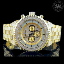 World Shine Watch Premium Yellow Gold Chronograph Simulated Diamond Watch 48mm