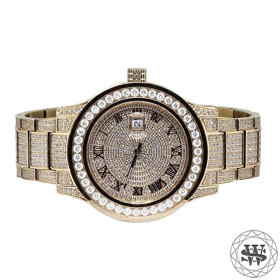 World Shine Watch Rose Gold Premium Rose Gold Steel Simulated Diamond Watch 45mm
