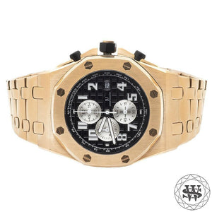 World Shine Watch Rose Gold Premium Solid Rose Gold Finish Black Dial Chronograph Watch 43mm